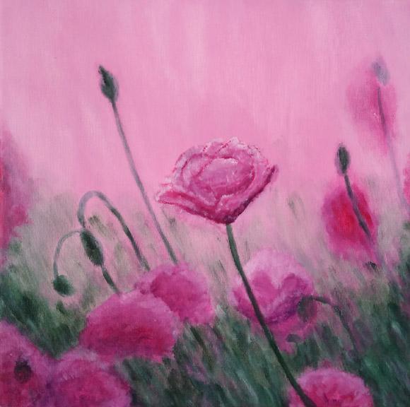 Lanul de maci - tablou pictat cu flori