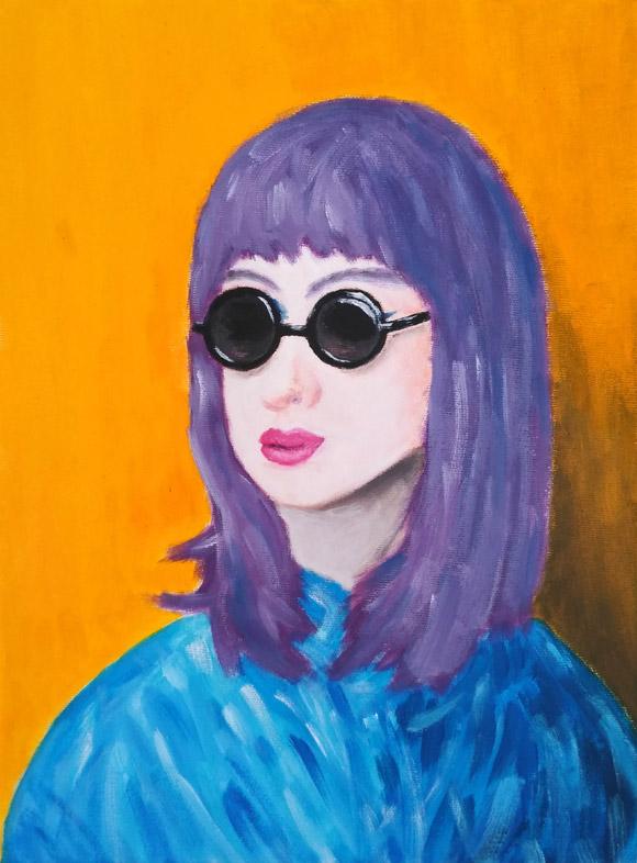 Portret mov - tablou pictat acrilic